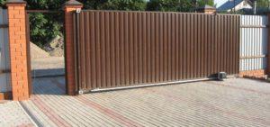 откатные ворота из профнастила