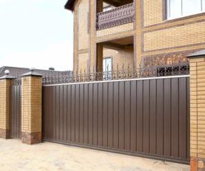 откатные ворота из профнастила цена с установкой