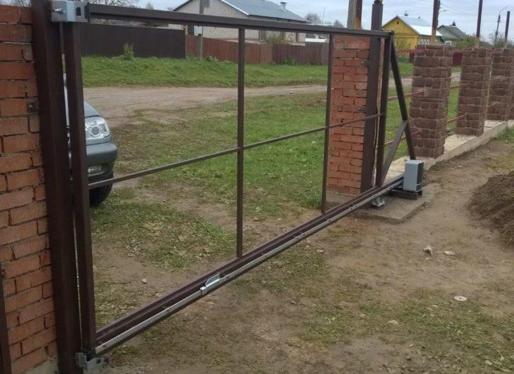 откатные ворота без отделки