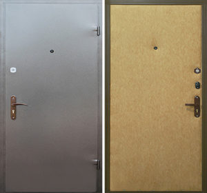 входная двери с порошковым напылением и винилискожей
