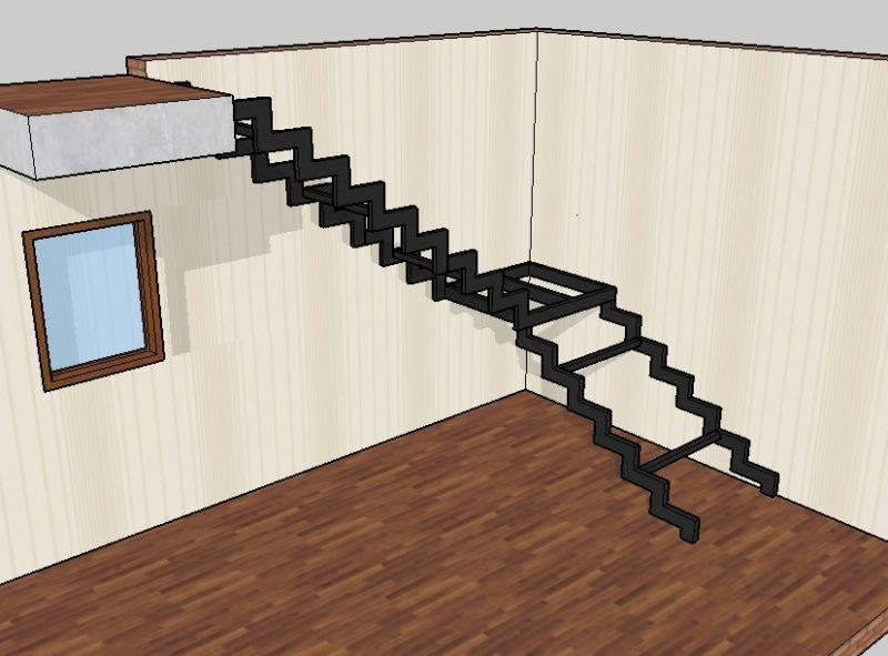 проект лестницы на двойном косоуре
