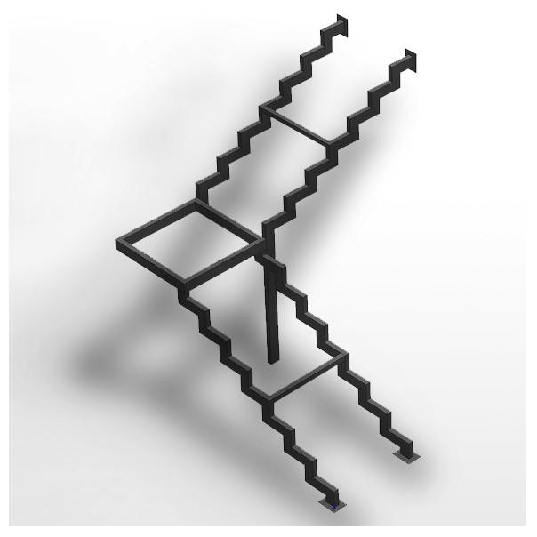 каркас лестницы на двойном косоуре