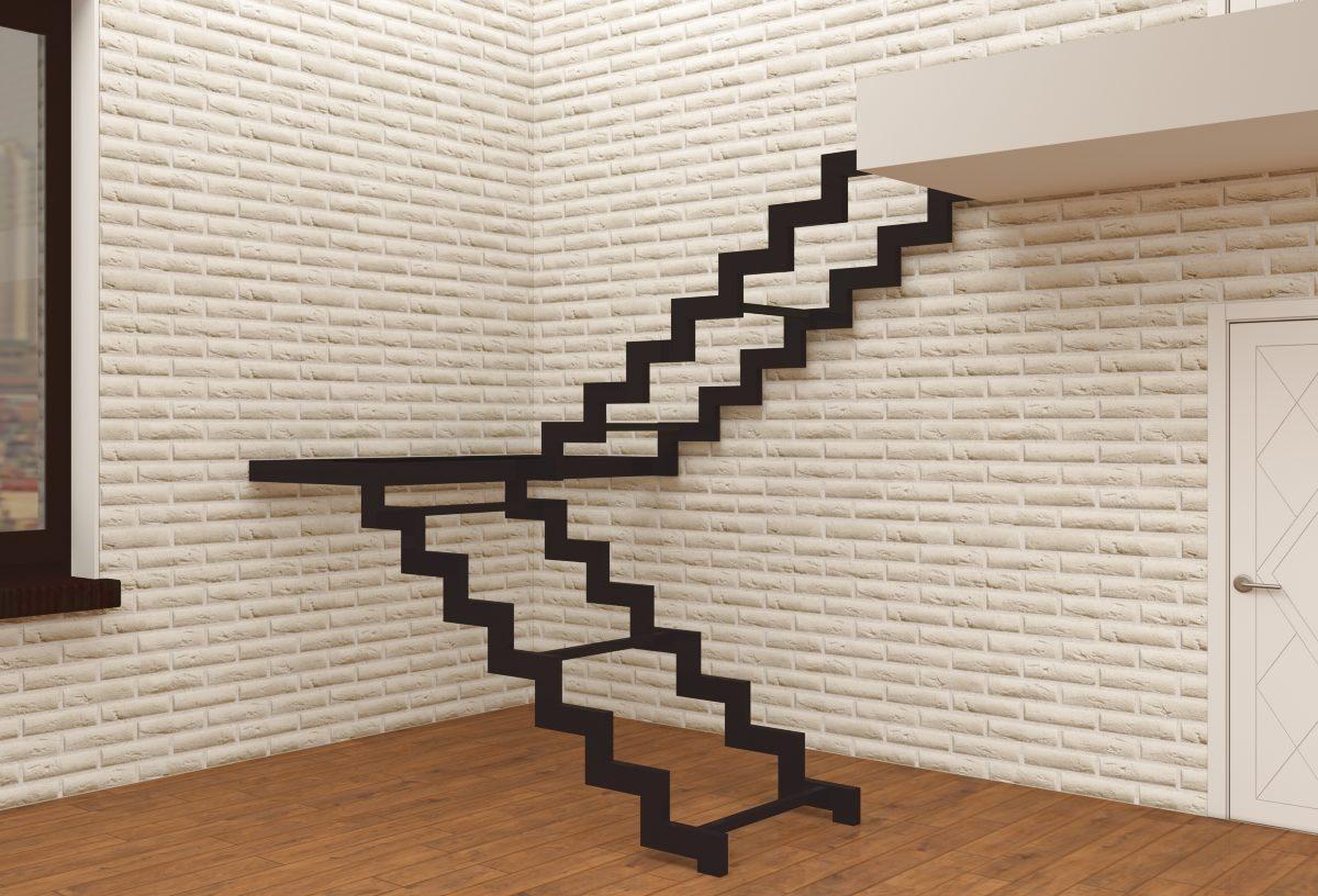 металлокаркас лестницы на двойном косоуре с площадкой