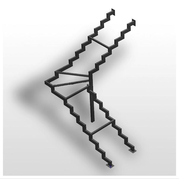 каркас лестницы на косоурах с забежными ступенями
