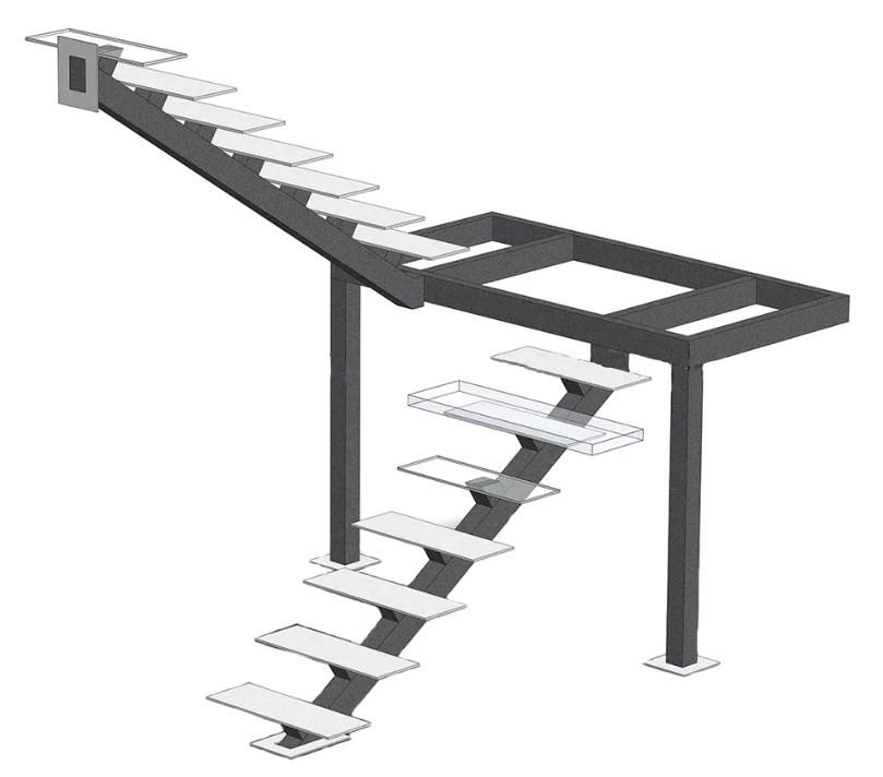 каркас лестницы на монокосоуре