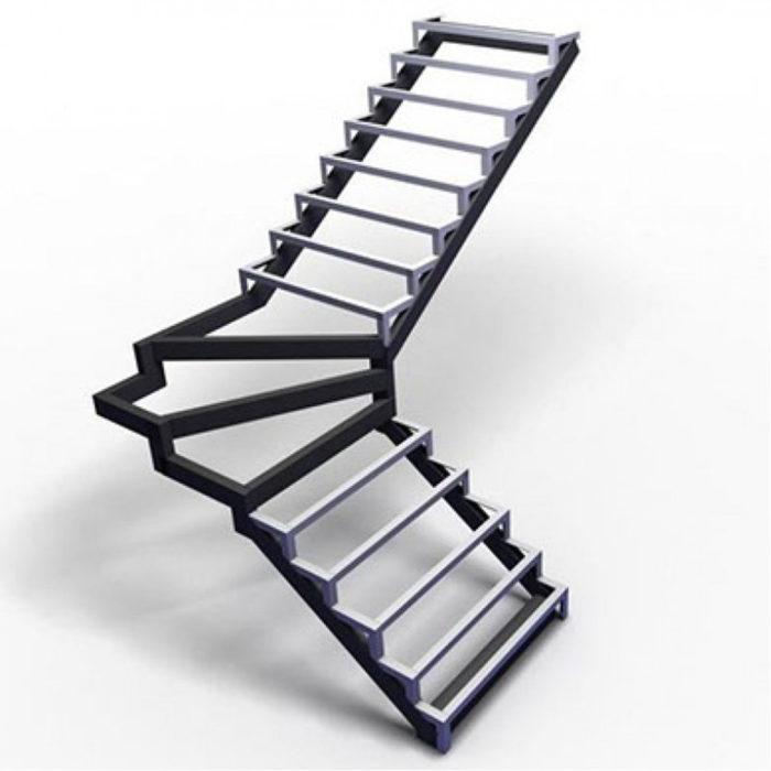 лестница закрытого типа с забежными ступенями