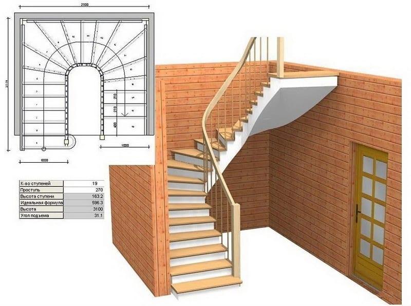 проект лестницы для дачи