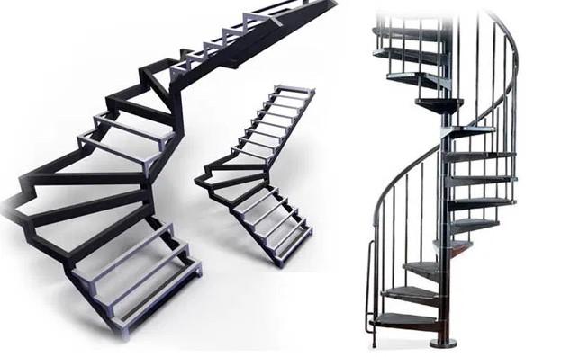 конструкция лестницы на металлическом каркасе